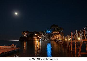 Camafeu, ilha, em, noturna, Zakynhtos, Grécia,