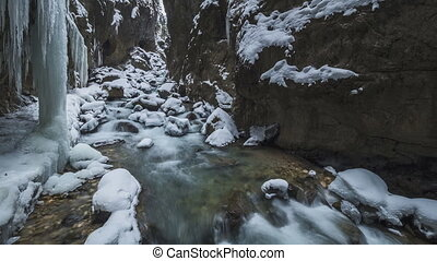 canyon Partnachklamm in winter in a timelapse movie