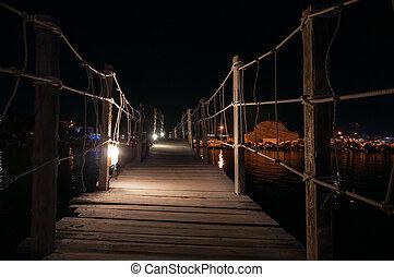 madeira, ponte, Para, Camafeu, ilha, em, noturna,