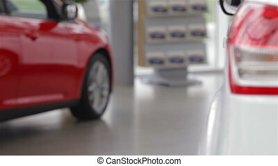 Woman chooses a model car. Auto business, car sale,...