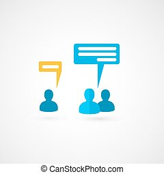 Business people talking with bubble signs. vector icon.