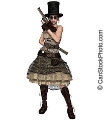 Steampunk Woman with Stovepipe Hat - Fantasy illustration of...