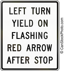 United States MUTCD road sign - Left turn after stop