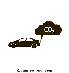co2 emissions icon cloud vector flat, carbon dioxide emits symbol