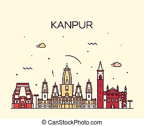 Kanpur skyline detailed vector illustration linear - Kanpur...