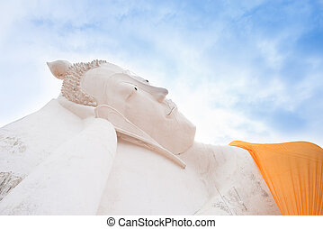 Sleeping Buddha Statue in Ayutthaya Temple, Thailand