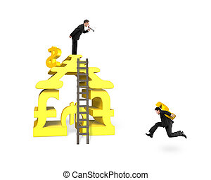 Businessman holding USD for money stacking building with...