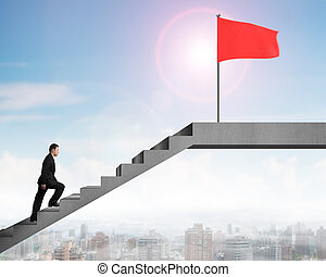 Man walking on stairs to top flag, city view sunnyday -...
