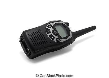 Black walkie talkie on white background