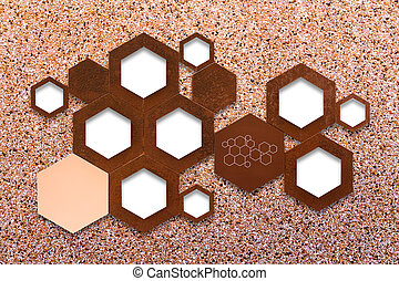 The metal molecule icon sign on stone wall background with...