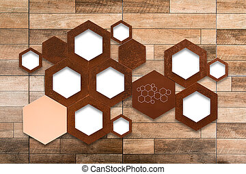 The metal molecule icon sign on wooden wall background with...