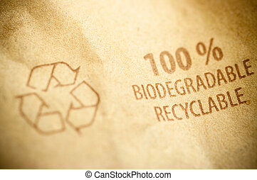 recyclable and biodegradable material - words biodegradable...