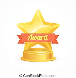 Gold Star Award. Vector - Gold Star Award with Orangw...