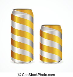 Aluminium Cans with Yellow Stripes. Vector illustration
