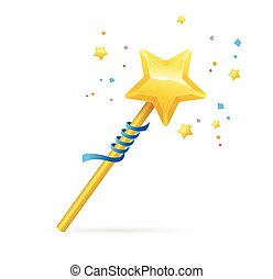Magic Wand with Shining Star. Vector illustration