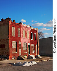 Abandoned Row House Block - A row house block of three...