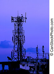 Tower - A communication tower on a moody evening
