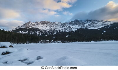 clouds at lake Eibsee in winter