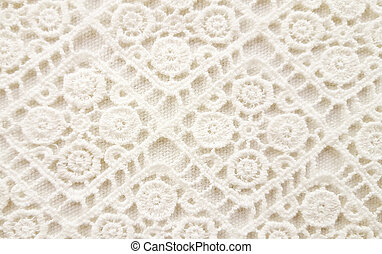 Off white lace crochet - Close up of off white crochet...