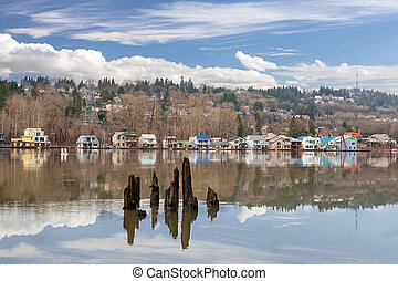 Floating Houses along Willamette River in Portland Oregon
