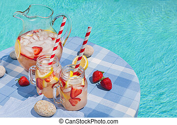 Strawberry lemonade at pool side - Ice cold homemade...