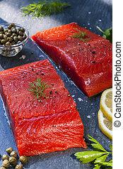 Wild salmon steaks
