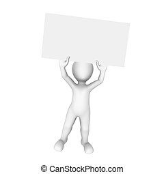 3d man with empty white poster