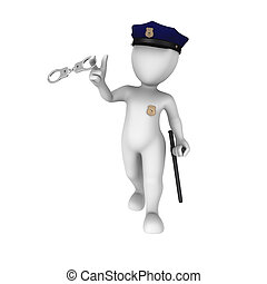 3d policeman plays with handcuffs - 3d rendered white...