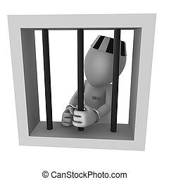The prisoner in prison - 3d rendered white prisoner isolated...