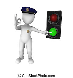 Green traffic light - go! - 3d rendered white policeman with...