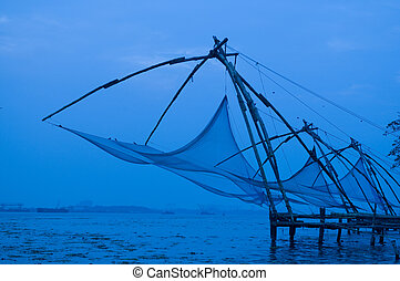 chinese fishing net along the cost of cochin India