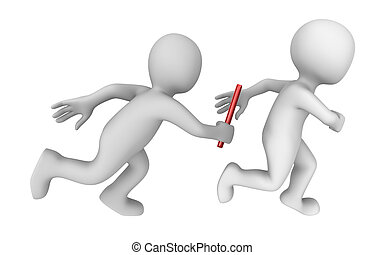 relay - 3d rendered white athletes with a baton isolated on...