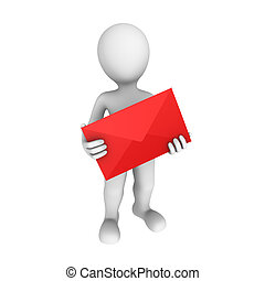 3d postman with letter - 3d rendered white human with the...