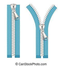 Clothes Zip Set. Vector - Clothes Zip Set. Closed Position...