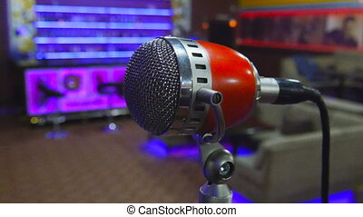 Microphone on stage at event.