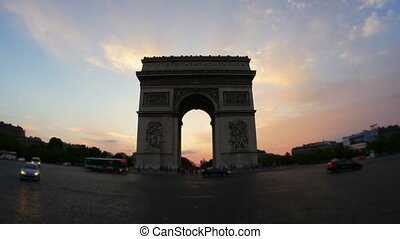 """champs elysees at sunset, paris, france, timelapse, zoom out, 4k"""