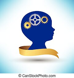 background human head with gears and cogs vector