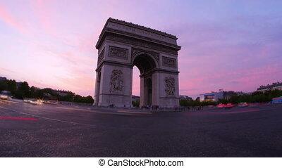 quot;champs elysees at sunset, paris, france, timelapse,...