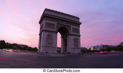 """champs elysees at sunset, paris, france, timelapse, 4k"""