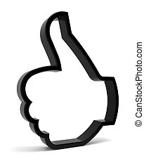 Thumbs Up - Thumbs up symbol. Three-dimensional black icon...