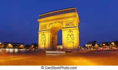 """champs elysees at night, paris, france, timelapse, zoom..."