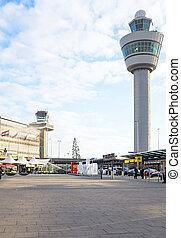 Schiphol, lotnisko, w, Amsterdam, Niderlandy,