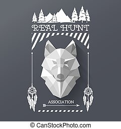 hunter socirty wolf - Real hunt logos with head of wolf in...