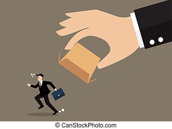 Businessman running away from cardboard box Business concept...