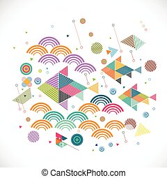 abstract geometrical with creative fish in water graphic concept and decoration, vector illustration
