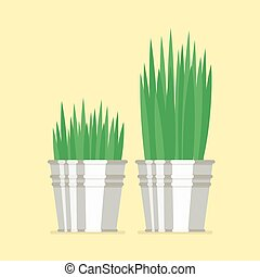 Plant in zinc pots flat icon Vector Illustration