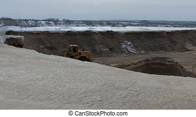 sand pit - quarrying sand at pit near Moscow