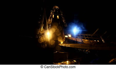 Drilling rig Winter in Night - Oil Drilling rig in work...
