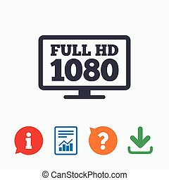 Full hd widescreen tv 1080p symbol - Full hd widescreen tv...