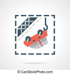 Car evacuation flat color vector icon - Red car hanging on...